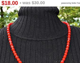 Vintage Bead Necklace Red Glass Bead Necklace Vintage Jewelry
