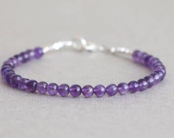 Amethyst Bracelet Beaded Bracelet February Birthstone Purple Gemstone Bracelet