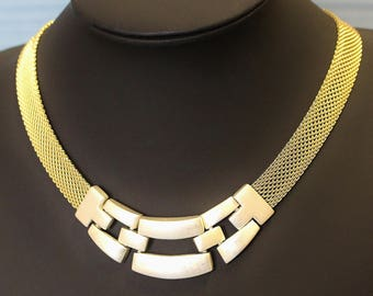 Vintage Napier Choker Necklace Wide Gold Tone Mesh and Brushed Matt Silver Tone Centre Blocks Fold Over Box Clasp Modern Futuristic Look