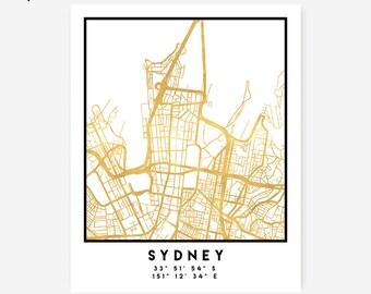 Sydney Map Coordinates Print - Australia City Street Map Art Poster, Gold Sydney Map Print, Sydney Australia Coordinates Poster Print Map