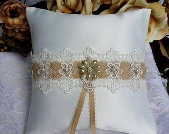 SALE Satin Ring Bearer Pillow - Vintage Wedding Decor - Garden Wedding Decor