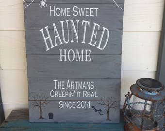 Halloween Sign, wood Sign, Family Name Sign, Personalized Sign, Halloween Decorations, Rustic Handmade Sign, Family Sign, Pallet Sign