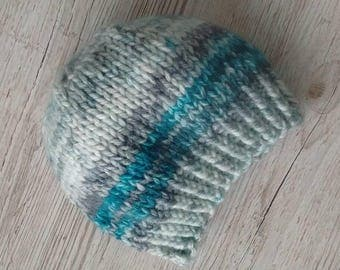 Chunky knit hat, chunky beanie, gray, turquoise, teal, adult, child