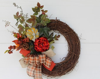 Fall Wreath, Thanksgiving Wreath, Autumn Wreath, Fall Decor, Thanksgiving, Door Wreath, Home Decor, Wall Decor, Fall Wedding, Fall Flowers,