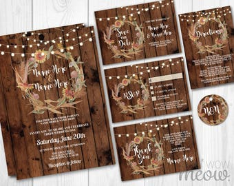 wedding invitations set template fall rustic wood lights package printable invites save the date instant download - Rustic Fall Wedding Invitations