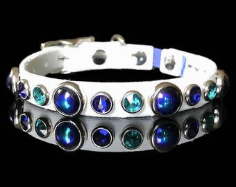 """The Kitty FIJI Leather Cat Collar, 1/2"""" wide with elastic safety strap, blue and green crystals and glass cabs, by Picasso Collars"""