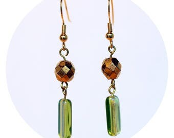 Emerald Drop Earrings with Vintage Accents