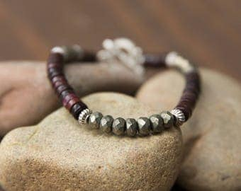 Pyrite Bracelet, Mens Pyrite Bracelet, Brown Turquoise Bracelet, Beaded Bracelet, Men Zen, Zen Bracelet, African Bracelet, Gift For Him, 6mm