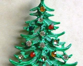 30% Off MYLU Vintage Christmas Tree Rhinestone Pin Green Enamel