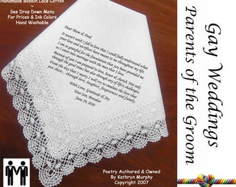 Gay Wedding ~ Parents of the Groom Gift from Their son  Printed Wedding Hankerchief G809 Title, Sign & Date for Free!  LGBT Mr and Mr