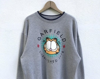 "20% OFF Vintage Garfield Sweatshirt / Garfield Cartoon Shirt / Garfield Sweater / Armpit 23"""
