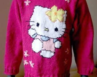 Sweater girl T-104/110, 3-4 years fall / winter pattern cartoon / comics cat.