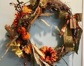 Hello Fall sunflower wreath