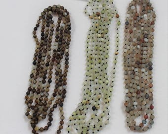"""Agate Bead Necklaces, 72"""" Agate Pre-Strung Necklaces, Multi Color Agate Necklaces, Three 72"""" Agate Necklaces To Choose From"""