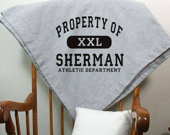 Property Of Athletic Sweatshirt Blanket, Personalized Athletic Sweatshirt Blanket, Personalized Stadium Blanket