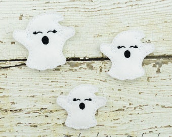 Ghost Feltie Set of 4 - Hair Bow Supplies - Clippie Cover - Badge Reel Cover - Craft Supply - Scrapbook - Card Making - Planner Clip