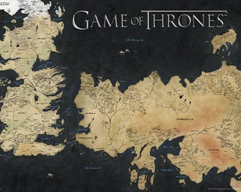 """Game of Thrones - Map of Westeros - 24x36"""" Poster"""