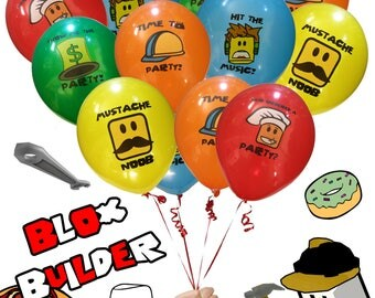 20 Pack - Pro Blox Builder Miner Video Game Truck Birthday Party Balloons - Great Supplies Favors Goody Loot Bags Decorations Decor