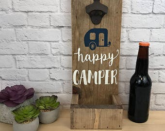 Happy Camper Opener- Beer Bottle Opener- Wall Mount Bottle Opener- Bar Decor- Bar Accessory- Christmas Gift- Home Decor- Walnut Stained