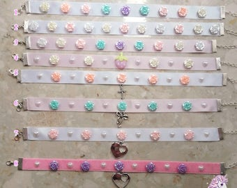 Pastel floral chokers yumekawaii pastel goth fairy kei lolita