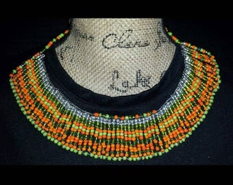 Bib Necklace; Seed Bead Necklace; Statement Necklace; Multi-color