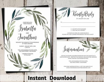 Watercolor Wreath Wedding Invitation Template - Printable Rustic Green Leafy Leaves Foliage Set - Instant Download Digital File PDF Suite