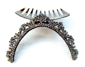 Antique hair comb cut steel tiara hair accessory headdress headpiece decorative comb hair ornament hair jewelry