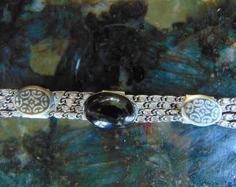 Lovely Vintage Multi Strand Sterling Silver & Onyx Bracelet