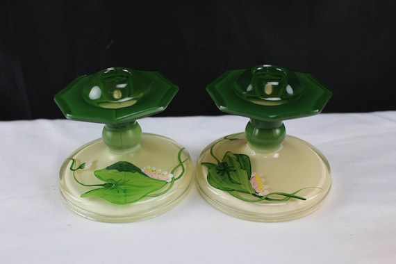 Pair Reverse Painted Glass Candlestick Holders