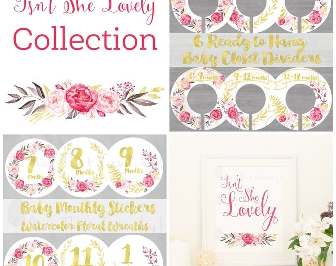 Isn't She Lovely Baby Gift Bundle - Closet Dividers - Monthly Stickers - Art Print - New Baby Gift Set