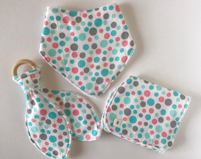Pink Polka Dot Bandanna Bib, Teether and Burp Cloth Baby Gift Set - Wood Ring Teether - Bunny Ear Teether - Blue Dot Burp Cloth