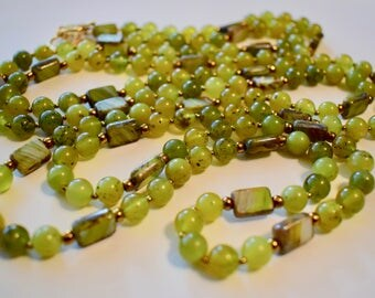 Serpentine and Czech Glass Beaded Necklace