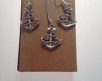 Anchor Jewellery Gift Set, Sailors Style, Nautical Earrings, Anchor Pendant Chain, Silver Plated Fashon Jewellery, Gift Boxed