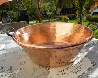 "IN EXCELLENT CONDITION,  Antique French Copper Bassine à Confiture. Jam /Jelly / Preserving Pan, 8.04lbs/3.64kgs  15""/38cm Internal Diameter"