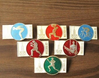 20% Off Sale Olympic Games 1980, Olympic Symbol, Moscow 80, Pin Olympic Games, Olympic Badge, 1980 Game Pin