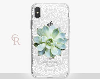 Succulent iPhone X Clear Case For iPhone 8 iPhone 8 Plus - iPhone X - iPhone 7 Plus - iPhone 6 - iPhone 6S - iPhone SE - Samsung S8 iPhone 5