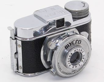 Mycro IIIa 14x14mm Subminiature Spy Camera with case, film – Very good condition and tested c.1953