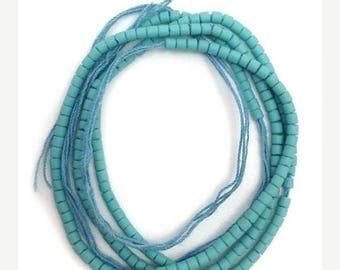 SALE 15% OFF 1 Strang Glas Perlen, türkis, 2mm, Afghanistan, rocailles, 37cm, Pukalite, Glas, Perlen klein, rund, glas beads