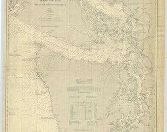 Washington Map from Grays Harbor to Semiahmoo Bay - 1900 Chart