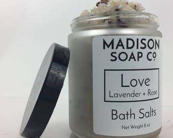 Love, Bath Salts, Lavender + Rose, 8 oz