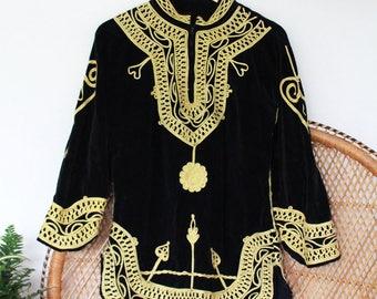 Vintage black gold indian 60s 70s Velvet embroidered mini tunic dress blouse top S M