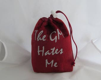 Dice Bag Pouch Velvet Dungeons and Dragons D&D RPG Role Playing Die Maroon The GM Hates Me Reversible Lined