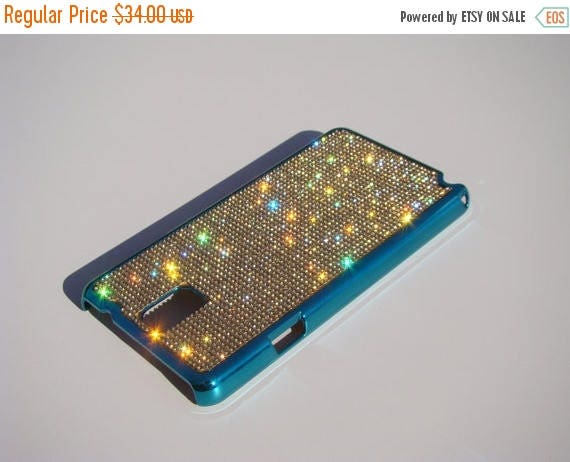 Sale Galaxy Note 3 Gold Topaz Crystals on Turquoise Chrome Case. Velvet/Silk Pouch Bag Included, Genuine Rangsee Crystal Cases.