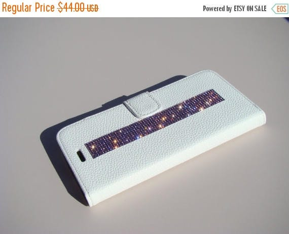 Sale iPhone 7 Plus Case Purple Amethyst Rhinestone Crystals on White Wallet Case. Velvet/Silk Pouch bag Included, Genuine Rangsee Crystal Ca