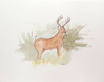 Deer watercolor painting unique original 11x15 animal illustration home decor wall art decoration roe nature