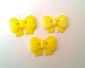 3 buttons 18 mm sewing scrapbooking custo yellow bows
