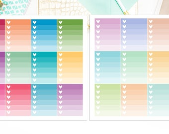 Ombre Checkboxes Planner Stickers,  Sticker Sale, Bold Pastel, Matte Glossy, 5255