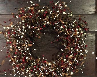 Christmas In July Sale Christmas Wreath, Red, Cream and Green Pip Berry Wreath, Holiday Wreath, Winter Wreath, Primitive Wreath, Country Chr