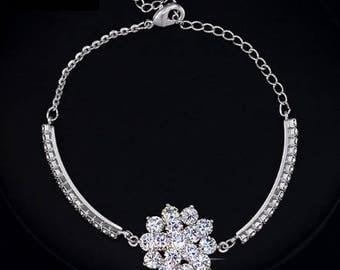 Belle Fleur Austrian Crystal Flower Cup Chain Bracelet