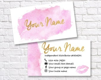 LipSense business card - SeneGence business card - Custom LipSense business cards - LipSense Distributor - Pink and gold business card